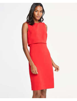 Pearlized Shoulder Doubleweave Dress by Ann Taylor