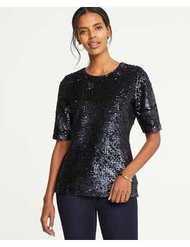 Sequin Elbow Sleeve Top by Ann Taylor