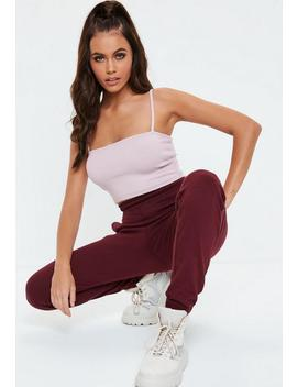 Lilac Straight Neck Ribbed Crop Top by Missguided