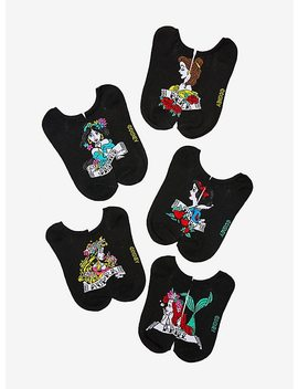 Disney Princess Tattoo No Show Socks 5 Pair by Hot Topic