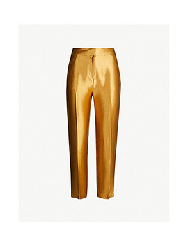 Metallic Straight Cropped Satin Crepe Pants by Topshop