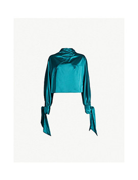 High Neck Tied Cuff Satin Top by Topshop