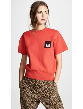 Mesh Tee With Logo Flag by Alexander Wang