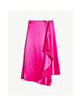 Waterfall Front Satin Skirt by Topshop