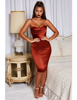 Luxe Good Bustier Strapless Satin Knee Length Dress In Copper by Oh Polly
