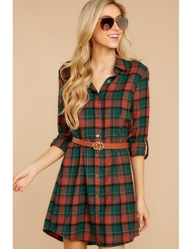 Stand Together Green Multi Plaid Button Up Dress by Umgee