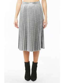 Distressed Metallic Accordion Pleat Skirt by Forever 21