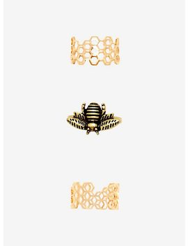 Bee Honeycomb Stacking Ring Set by Hot Topic