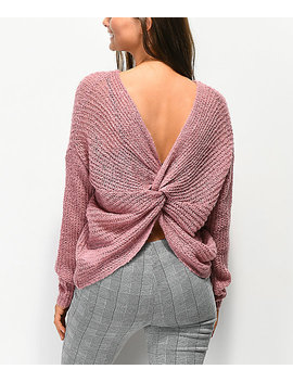 Jolt Knot Back Mauve Sweater by Jolt