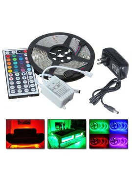 5 M Rgb 5050 Water Resistant Led Strip Light Smd With 44 Key Remote & 12 V Power Supply,Color Changing Flexible Strip With White Color by Amazingforless