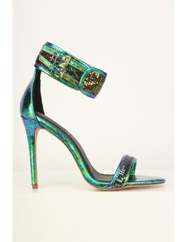 Green Hologram Reptile Open Toe High Heels by Ami Clubwear
