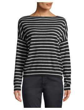 Skinny Stripe Boat Neck Merino Wool Sweater by Vince