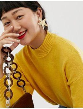 Asos Design Earrings In Statement Starfish Design In Gold by Asos Design