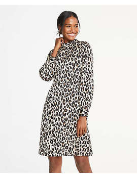 Petite Spotted Mock Neck Flare Dress by Ann Taylor