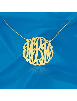Monogram Necklace   1 Inch 24 K Gold Plated Sterling Silver   Handcrafted Designer   Personalized Initial   Monogram Necklace   Made In Usa by Etsy