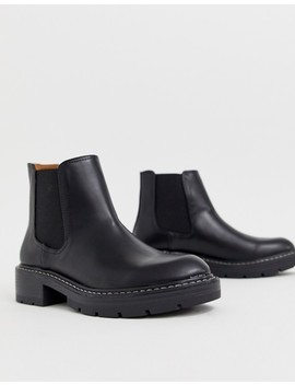 Pull&Bear Stitch Rand Boot In Black by Pull&Bear