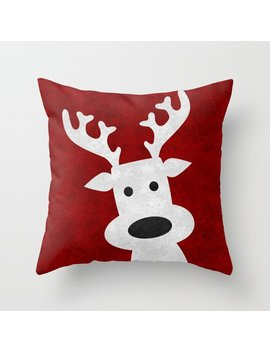 Christmas Reindeer Red Marble Throw Pillow by