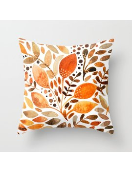 Autumn Watercolor Leaves Throw Pillow by