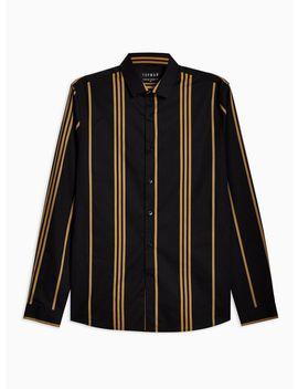 Black And Mustard Stretch Skinny Stripe Shirt by Topman