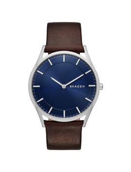 Skagen Holst 40mm Men's Casual Watch   Dark Brown/Blue/Silver by Skagen