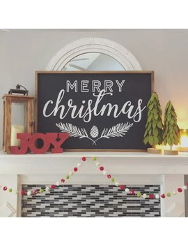 Merry Christmas Framed Wood Sign, Holiday Decor, Christmas Decor, Christmas Mantle, Holiday Mantle, Framed Wood Sign by Etsy