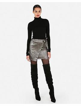 Metallic Animal Print Jacquard Wrap Mini Skirt by Express