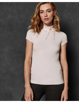 Ruffle Neck Fitted Tee by Ted Baker