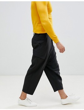 Asos Design Drop Crotch Tapered Heavy Jersey Pants With Cargo Pockets by Asos Design