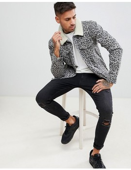 Boohoo Man Borg Collar Denim Jacket In Leopard Print by Boohoo Man
