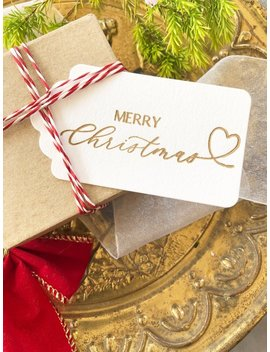 Gold Christmas Gift Tags, Merry Christmas Tags, Holiday Gift Tags, Christmas Wrapping, Xmas Tags, Holiday Gift Wrap, Letterpress Tag by Etsy