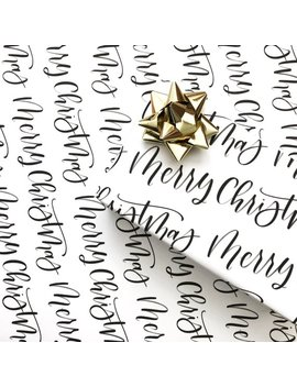 Merry Christmas Wrapping Paper | Calligraphy Wrapping Paper Sheet | Christmas Wrapping Paper | Holiday Wrapping Paper | Gift Wrap by Etsy
