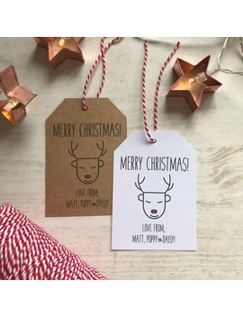 Personalised Reindeer Christmas Gift Tags, Christmas Wrapping, Kraft Tags, Personalised Gift Tags, Holiday Gift Tags, Christmas Favor Favour by Etsy