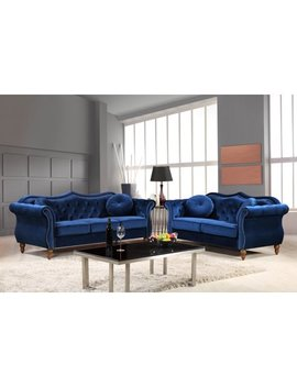 Us Pride Furniture Carbon Classic Nail Head Chesterfield 2 Piece Living Room Set Blue by Us Pride Furniture