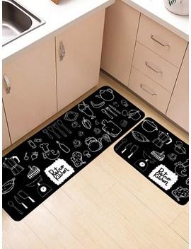 Tableware Print Floor Rug 2pcs by Romwe
