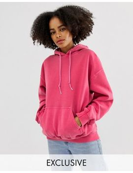 Reclaimed Vintage Inspired Overdye Hoodie In Pink by Reclaimed Vintage