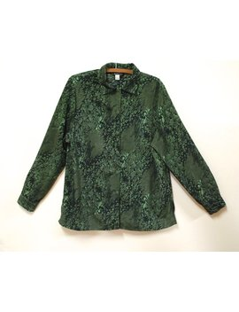Forest Green Abstract Print Shirt Vintage Velvet Look Long Sleeve Blouse Retro Eighties Top Dress Shirt Vtg 1980s Size L Large by Etsy