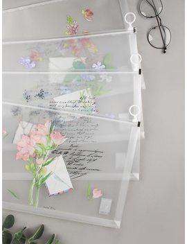 Random Flower Print Clear File Bag 1pc by Romwe