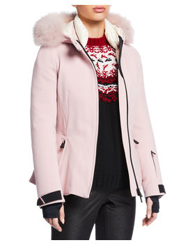 Bauges Belted Jacket W/ Removable Fur Trim by Moncler Grenoble