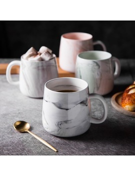 400ml Marble Coffee Drinking Mugs Natural Ceramic Marble Office Mugs Cups For Office And Gift by We Collection