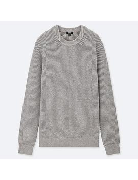 Men Middle Gauge Ribbed Crewneck Sweater by Uniqlo