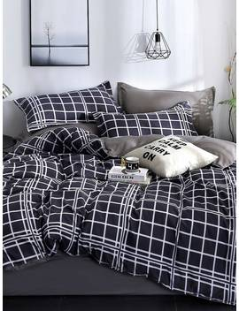 Plaid Print Sheet Set by Romwe
