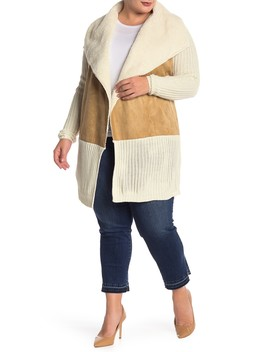 Faux Shearling Lined Shawl Sweater (Plus Size) by Rdi
