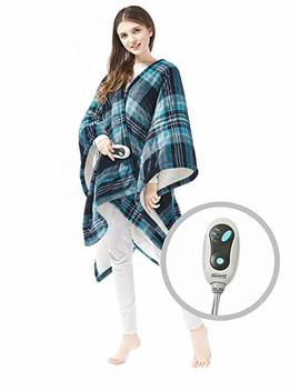 "Beautyrest   Soft Sherpa Heated Blanket Wrap   Plaid Pattern   50"" X 64""   Aqua   With 3 Setting Heat Controller by Beautyrest"