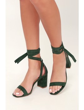 Airis Green Suede Lace Up Heels by Lulus
