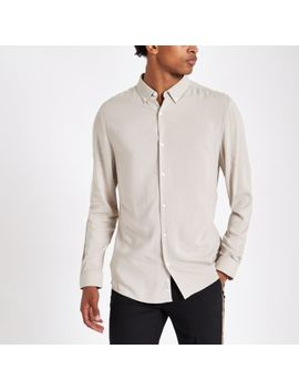 Stone Viscose Long Sleeve Shirt by River Island
