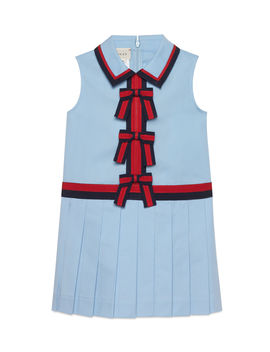 Sleeveless Web Trim Bow Dress, Size 4 12 by Gucci