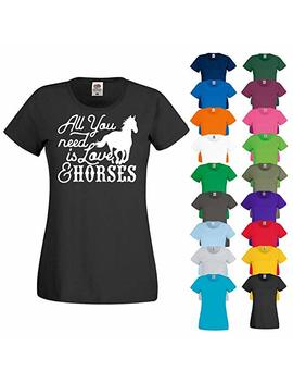 Printized All You Need Is Love Horses Horse Riding Stables Equestrian Ladies T Shirt Top by Printized