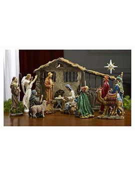 Deluxe Edition 16 Piece 10 Inch Christmas Nativity Set With Real Frankincense Gold And Myrrh. by Three Kings Gifts The Original Gifts Ofchristmas