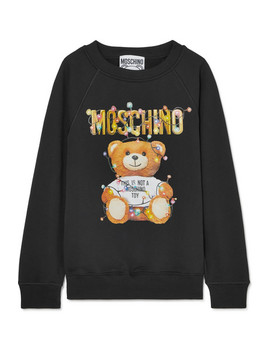 Printed Stretch Cotton Jersey Sweater by Moschino