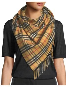 Vintage Check Cashmere Bandana Scarf by Burberry